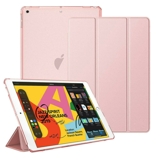 Apple iPad 10.2 7th Generation 2019 Rose Gold Slim  PU Leather Stand Case