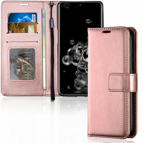 Samsung Galaxy S20 Rose Gold Leather Wallet Stand case