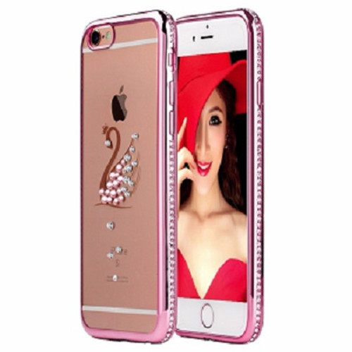 Apple iPhone 6s  Rose Gold Swan Electoplated Diamond Gel Blng Case