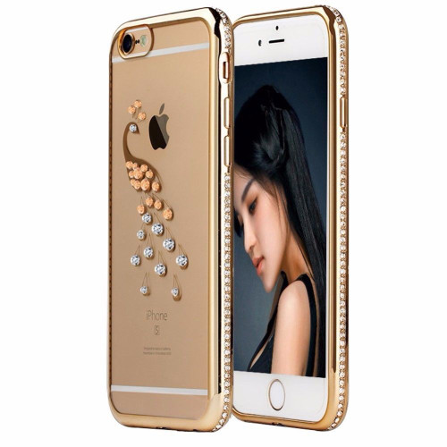 Apple iPhone 6s Gold Swan Electoplated Diamond Gel Blng Case