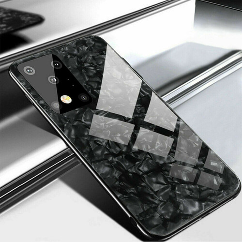 Samsung Galaxy S20 Plus Black Marbel Tempered Glass Back Cover