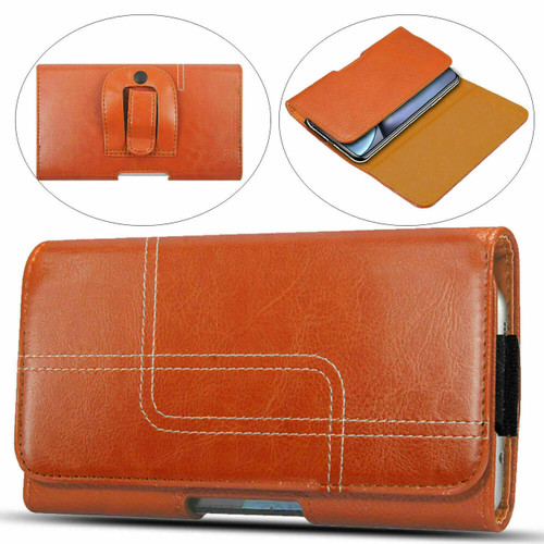 Samsung Galaxy S20 Plus Light Brown Belt Clip Hip Loop Holster Leather Pouch Case