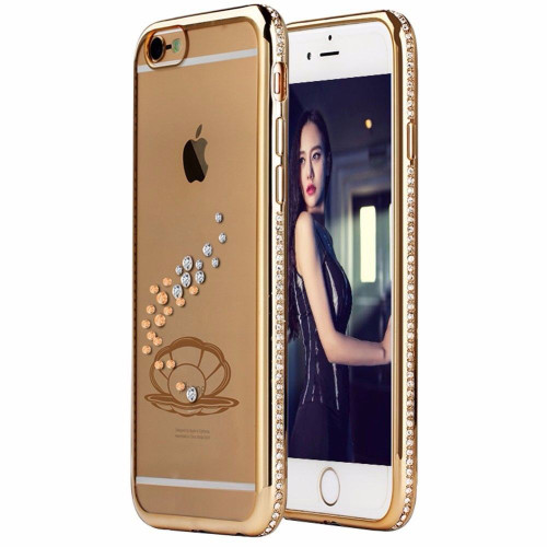 Apple iPhone 6s Plus Gold Shell Electoplated Diamond Gel Blng Case