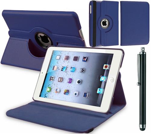 Apple iPad Mini 1 2 3 Navy PU Leather 360 Rotating Case