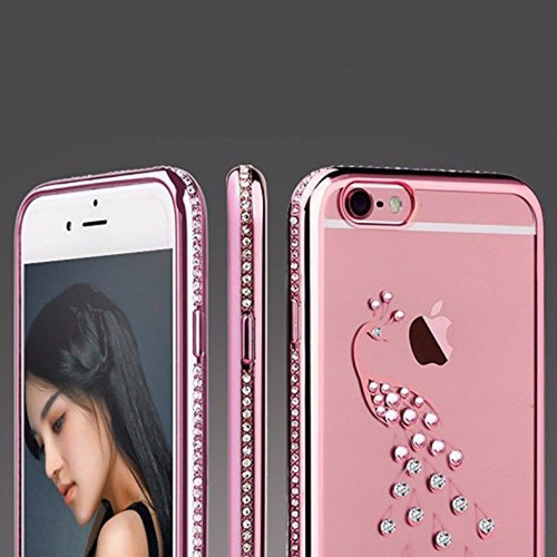 Apple iPhone 6s Plus Rose Gold Swan Electoplated Diamond Gel Blng Case