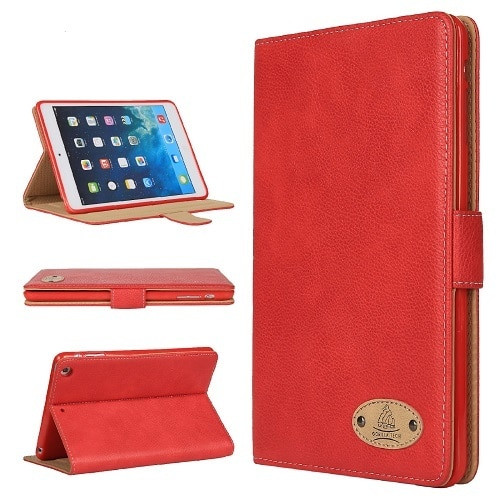 Apple iPad 10.2 7th Generation 2019 Red Soft Leather Wallet Smart Case