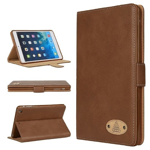 Apple iPad 10.2 7th generation 2019  Brown Soft Leather Wallet Smart Case