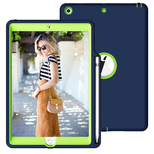 Apple iPad 10.2 7th Generation 2019 navy and Green Smart Shockproof With Pencil Holder