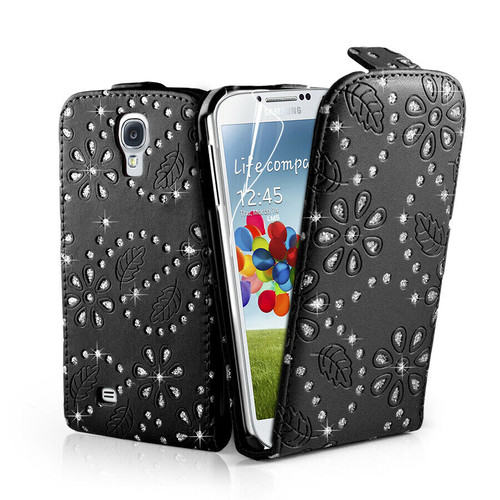 Black Diamond Bling Flip Leather Case Cover Samsung Galaxy S4 IV I9500 + Film