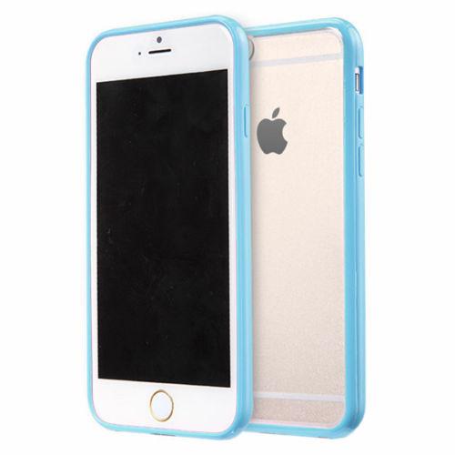 Apple iPhone 7  Clear Transparent Back Hard Case TPU Silicone Bumper Cove Blue
