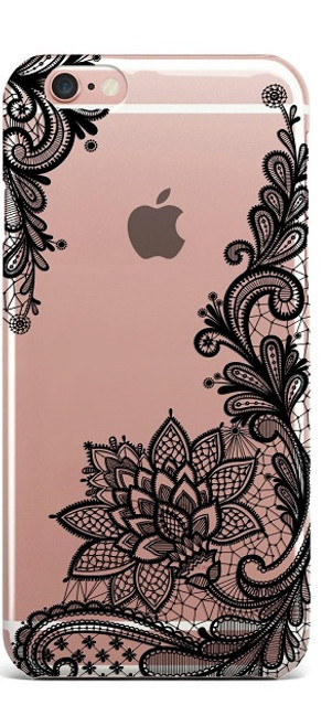 Apple iPhone 7 Plus Wedding Lace Black Silicon Case