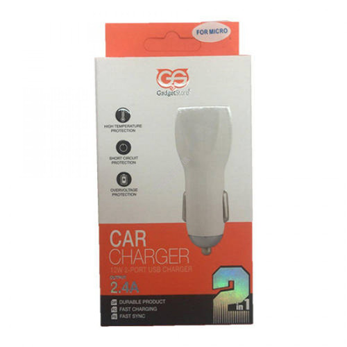 2-In-1 Twin USB Car Micro Charger Kit 2.4A
