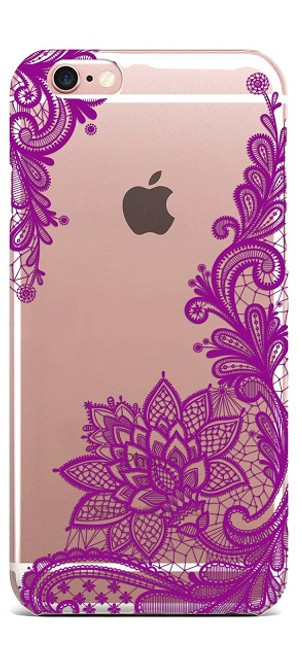 Apple iPhone 7 Wedding Lace Purple Silicon Case
