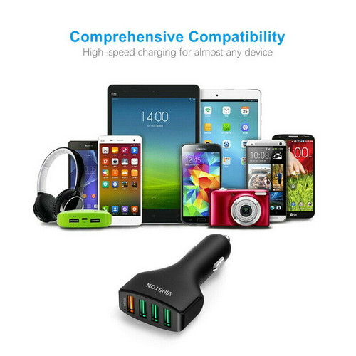 4-Port USB 7.5A Super Fast Car Charger For iPhone iPad Samsung Huawei