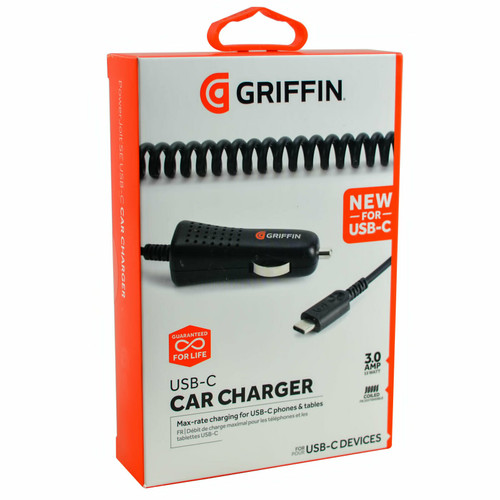 Griffin 3Amp Rapid Fast Coiled In-Car Type C Charger For Galaxy S20/Note10+/S9