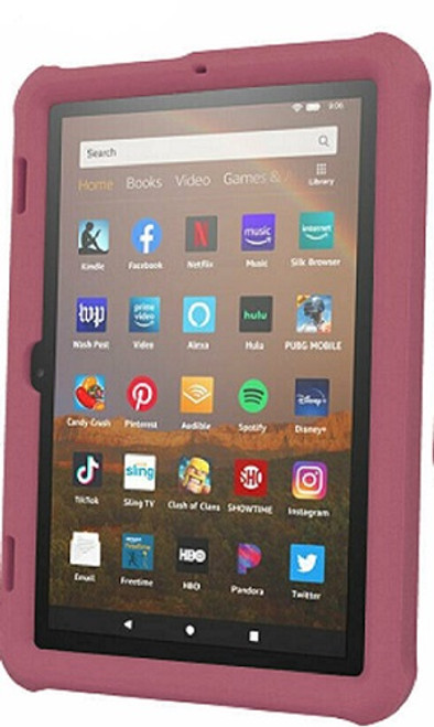 Amazon Kindle Fire HD 8 8Plus Tablet 2020  Plum Shockproof Rugged Durable Bumper Case