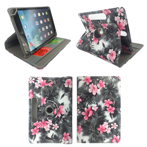 Amazon Kindle Fire HD 8 8Plus 2020 Pink Flower on Dark Grey Smart Leather Stand Cover Case