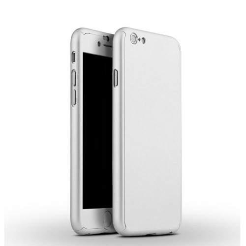 iPhone SE (2020)  Silver Full Body 360° Case Cover with Clear Tempered Glass Screen