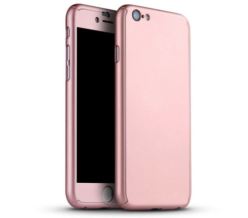iPhone SE (2020)  Rose Gold Full Body 360° Case Cover with Clear Tempered Glass Screen