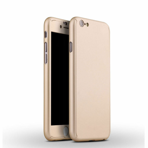 iPhone SE (2020)  Gold Full Body 360° Case Cover with Clear Tempered Glass Screen