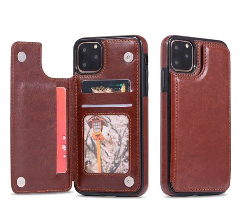 iPhone SE (2020)  Brown Leather  Magnetic Wallet Card Holder Case