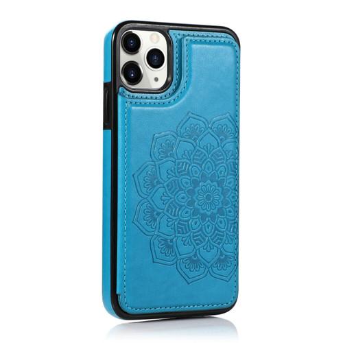 iPhone SE (2020)  Blue Pattern Leather  Magnetic Wallet Card Holder Case