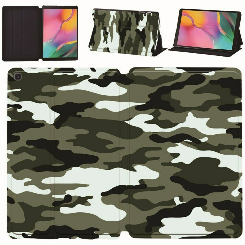 Samsung Galaxy Tab A 10.1 T580 T585 2016 Camouflage Smart Leather Stand Case