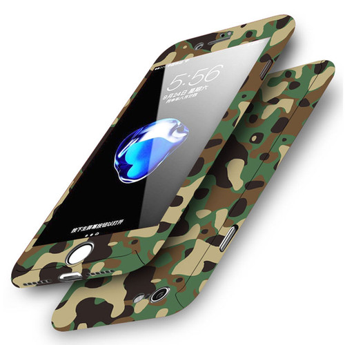 Apple iPhone 8 Plus Army Camouflage  Shockproof Hard Case With Tempered Glass
