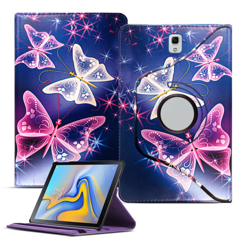 Samsung Galaxy Tab A 10.1 T580 T585 2016 360 Butterfly on Blue Smart Leather Stand Case