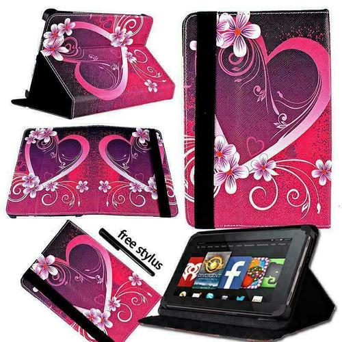 Amazon Kindle Fire HD 7 5th Gen 2015 heart love on Dark Grey  Smart Leather Stand Wallet Case