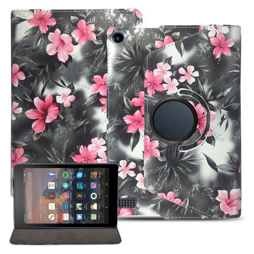 Amazon Kindle Fire HD 7 5th Gen 2015  360 Pink Flower on Dark Grey  Smart Leather Stand Wallet Case