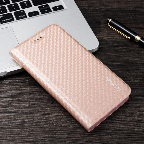 Apple iPhone 8 Plus Magnetic Carbon Leather Flip Case -Rose Gold