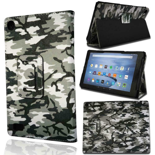 Amazon Kindle Fire HD 7 7th Gen 2017  Army Camouflage With Alexa Smart Leather Stand Cover Case