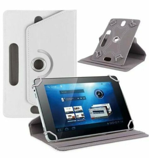 Amazon Kindle Fire HD 7 7th Gen 2017 White Rotating Stand Wallet Leather Case