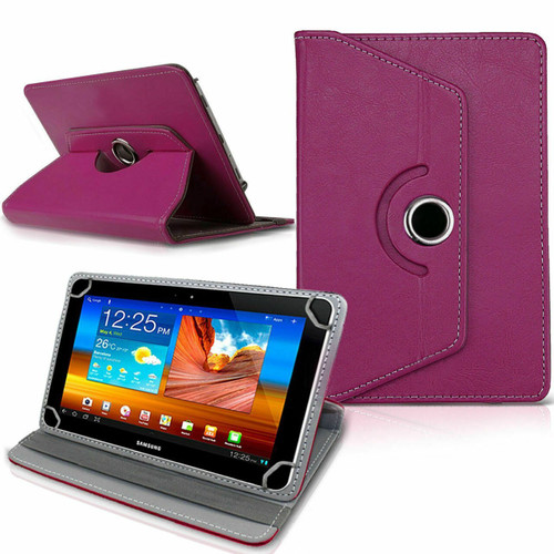 Amazon Kindle Fire HD 7 7th Gen 2017  Purple Rotating Stand Wallet Leather Case