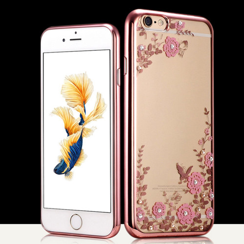 Apple Iphone 8 Plus Pink Flower Rose Gold Silicon Case