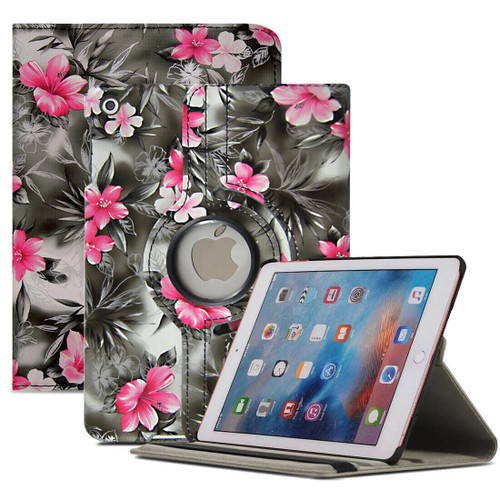 Pink Flower On Grey PU Leather 360 Rotating Case for iPad  10.2 8th Gen 2020