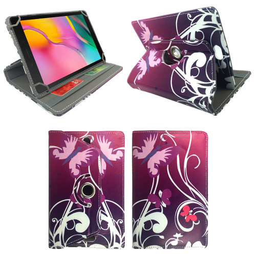 Samsung Galaxy Tab A 8.0 2019 SM-T290 T295 Butterfly on Purple 360 Rotate case