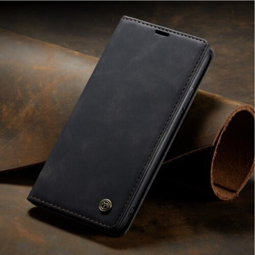 Apple iPhone  12 Black   Luxury Caseme Leather Flip Wallet Stand Cover