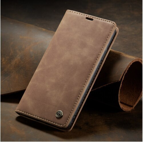 Apple iPhone  12 Pro Max Brown   Luxury Caseme Leather Flip Wallet Stand Cover