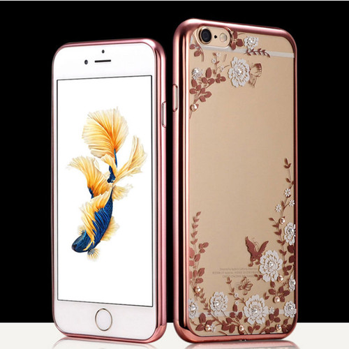 Apple Iphone 8 Plus White Flower Rose Gold Silicon Case