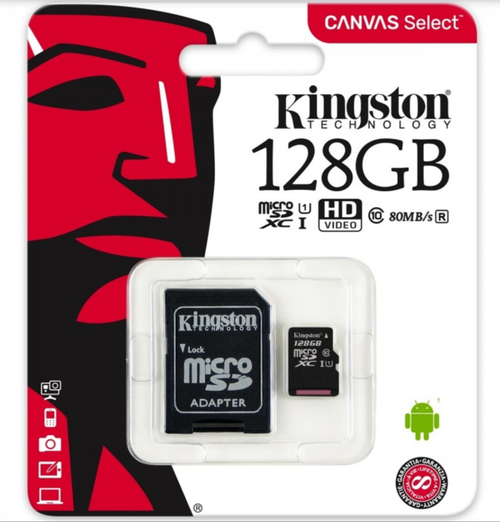 Kingston 128GB MicroSDXC Flash Memory Card Class 10 (SDC10G2/128GB)
