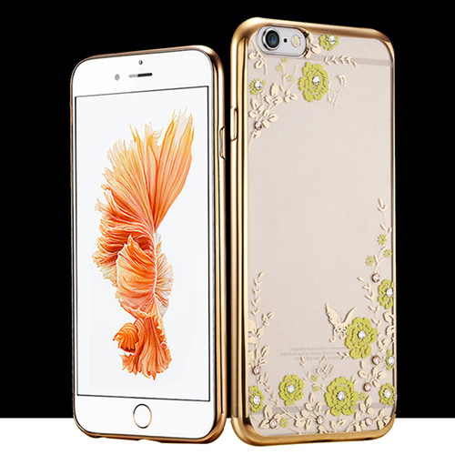 Apple Iphone 8 Yellow Flower Gold Silicon Case
