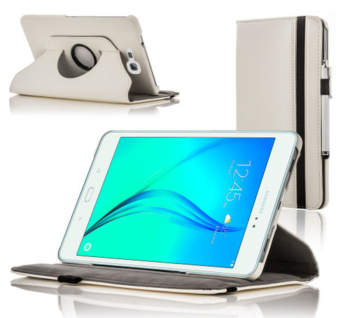White Leather Rotating Smart Case Cover for Samsung Galaxy Tab A 8.0 2015 SM-T350