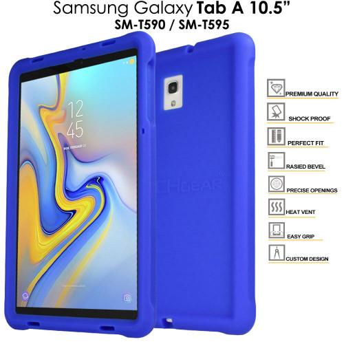 Blue Rugged Soft Silicone Kids Shock Bumper Case for Samsung Galaxy Tab A 10.5 T590