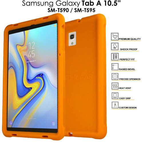Orange Rugged Soft Silicone Kids Shock Bumper Case for Samsung Galaxy Tab A 10.5 T590