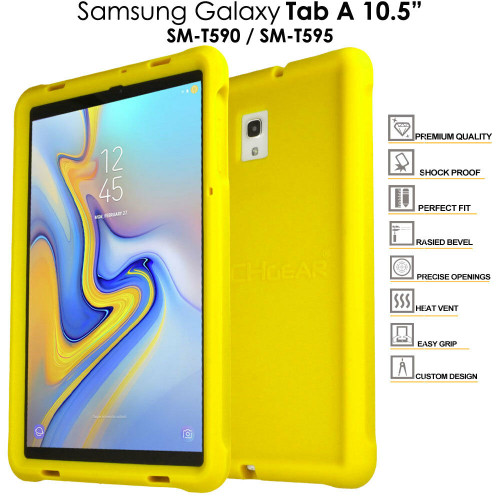 Yellow Rugged Soft Silicone Kids Shock Bumper Case for Samsung Galaxy Tab A 10.5 T590