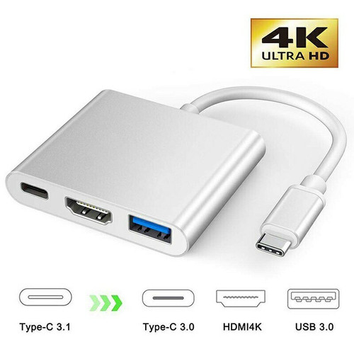 3 in1 Type C to USB-C 4K HDMI USB 3.0 Hub Adapter Cable For Macbook