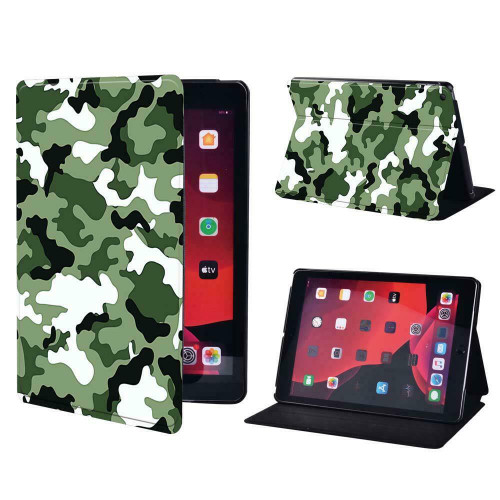 Green army camouflage Folio Leather Stand Cover Case Apple iPad 10.2 (7th Generation) 2019