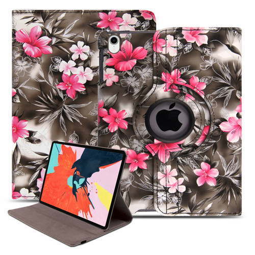 Pink flower on dark grey slim leather stand Smart Case Cover For Apple iPad Air 10.9 2020 4th Generation